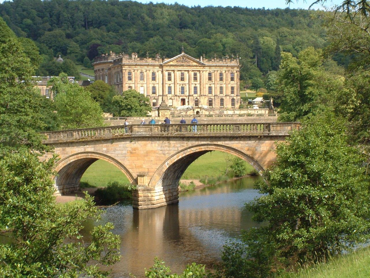Chatsworth House in Derbyshire the view from the bridge